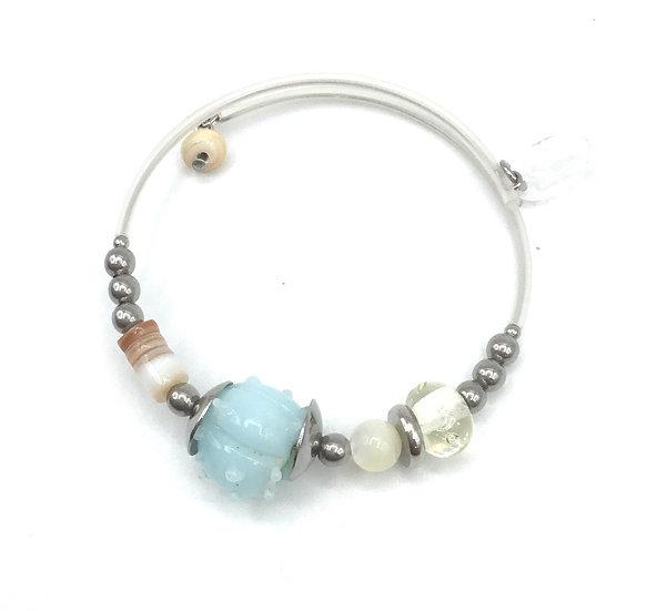 Bracelet  «Bleu coquillage»/ Verre filé
