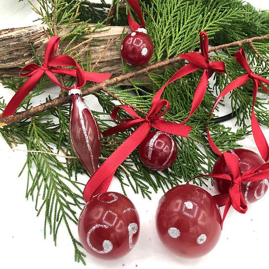 Boules de Noël  bordeaux et argentées /verre soufflé