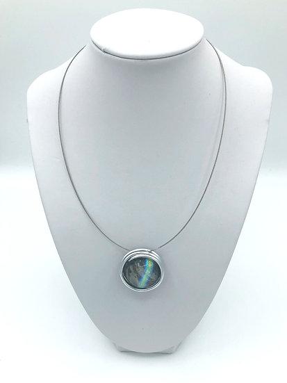 """Collier pendentif rond """"Reflets d'Ø""""/ Verre filé / Pièce unique"""
