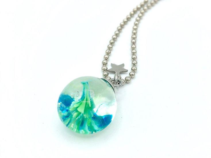 collier sautoir pendentif vague / verre filé