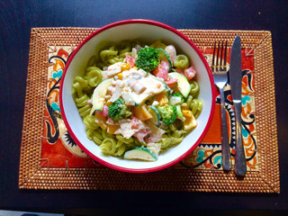 Pasta with creamy vegetable sauce