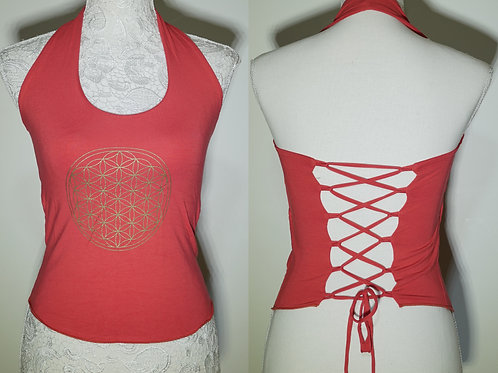 Flower of Life Yoga Top, Laced-up Back
