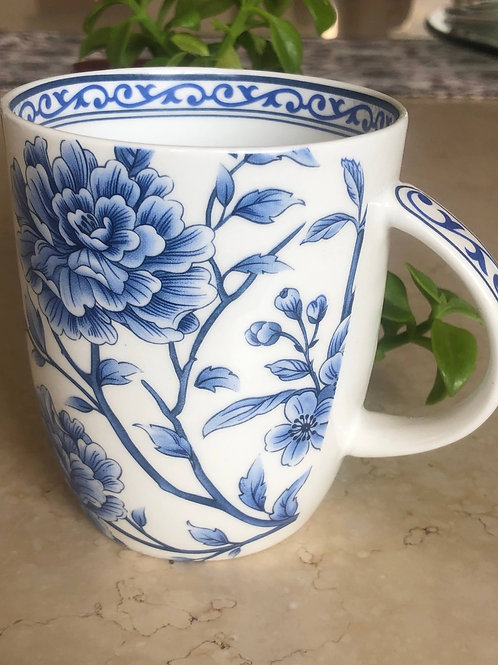 Blue floral peony set of 2