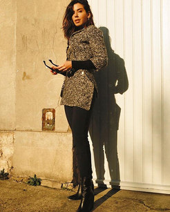 @camilacoutinho com casaco de tricô #cel