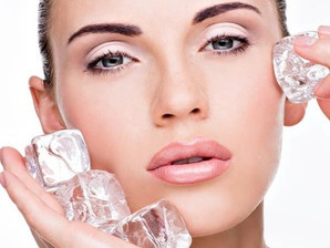Facial treatment with ice for skin rejuvenation