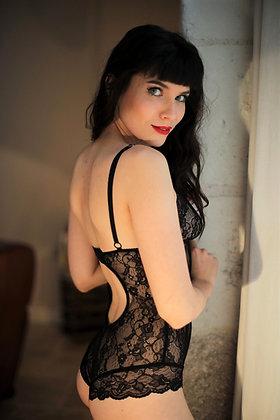 Body lingerie noir Made in France