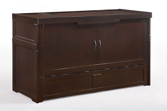 Cube Queen Cabinet Bed in Chocolate