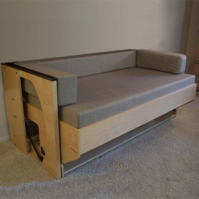 Day bed that doubles as a couch and transforms into a desk