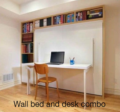 Wall bed and desk combo
