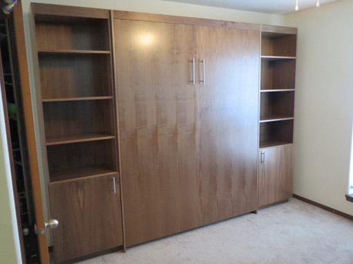 Simple murphy bed with optional cabinets in cherry
