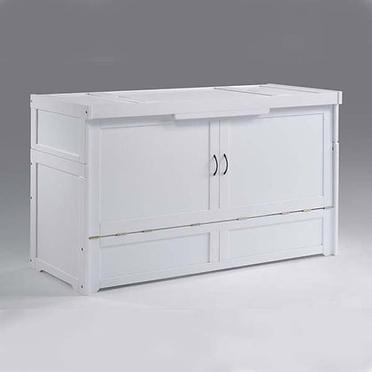 Cube Queen Cabinet Bed in White