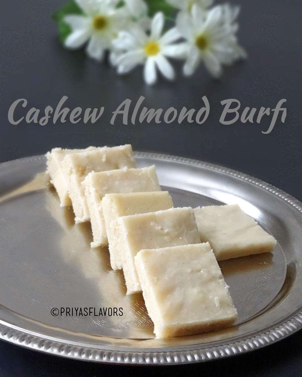 cashew almond burfi