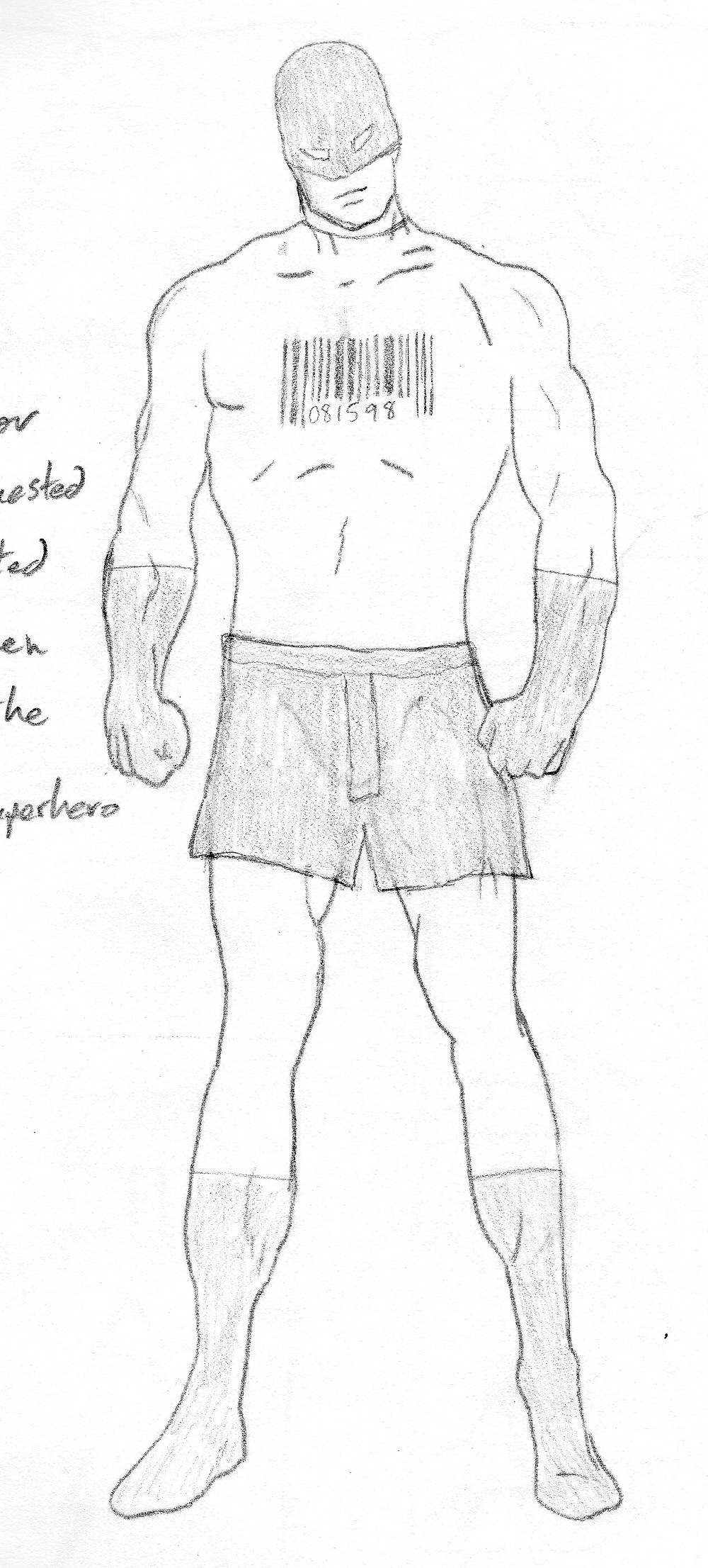 Early drawing of SuperGuy character in costume.  White suit with black gloves, boots and boxer shorts.