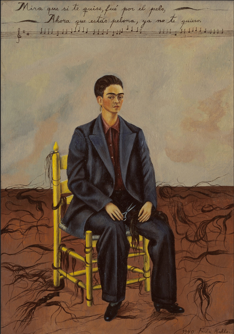 Self Portrait With Cropped Hair by Frida Kahlo