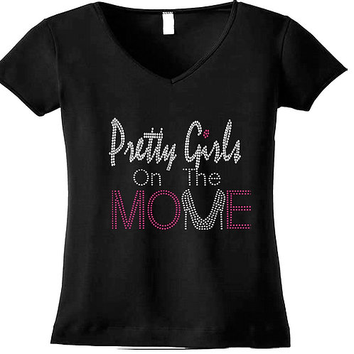 Pretty Girls On The Move V-Neck Bling Tee