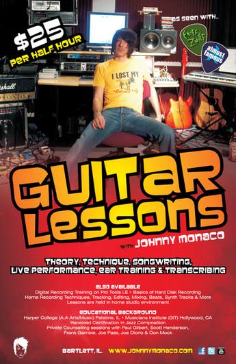 Johnny Monaco Guitar Lessons Poster (Studio)
