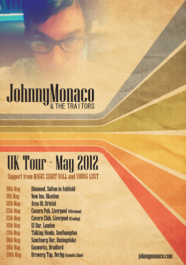 Johnny Monaco & The Traitors Tour Poster(2012) Retro