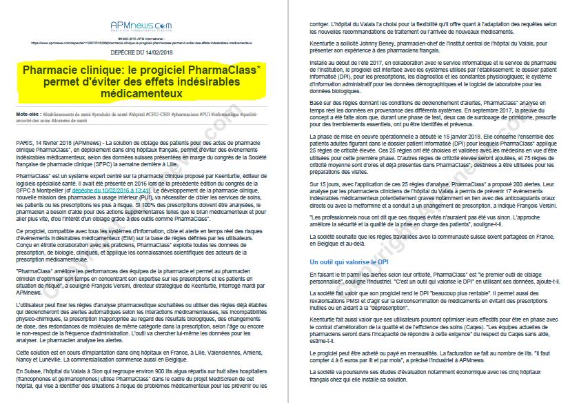 Confirmation de l'efficacité de Pharmaclass pour lutter contre la iatrogénie - dépêche APM