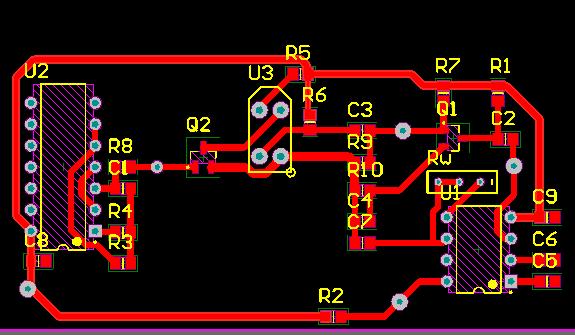 Símbolos de componentes eletrônicos em um layout digital de circuito; componentes eletrônicos ligados por trilhas