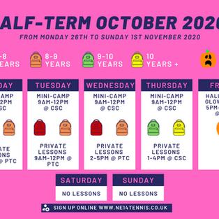 October Half-Term Schedule