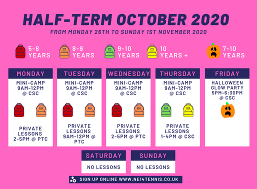 October Half-Term Schedule