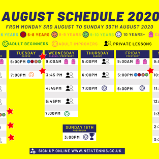 Changes to August Lesson Schedule