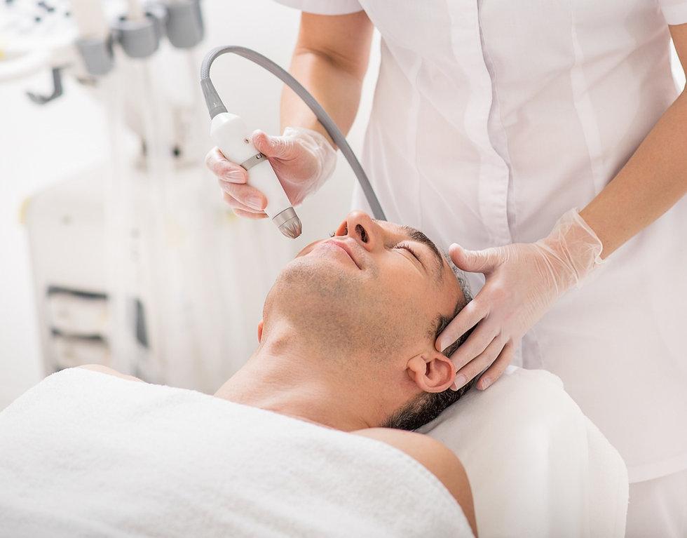 Male customer having a treatment