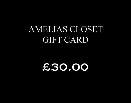 £30.00 Amelias Closet Gift Card