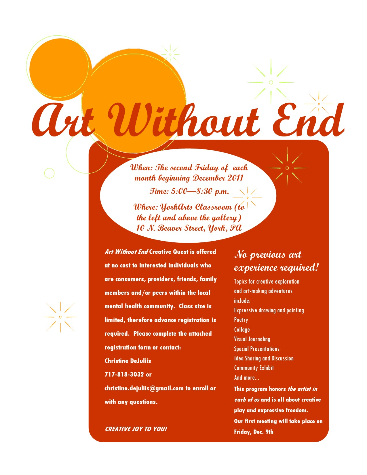 Art Without End Flyer