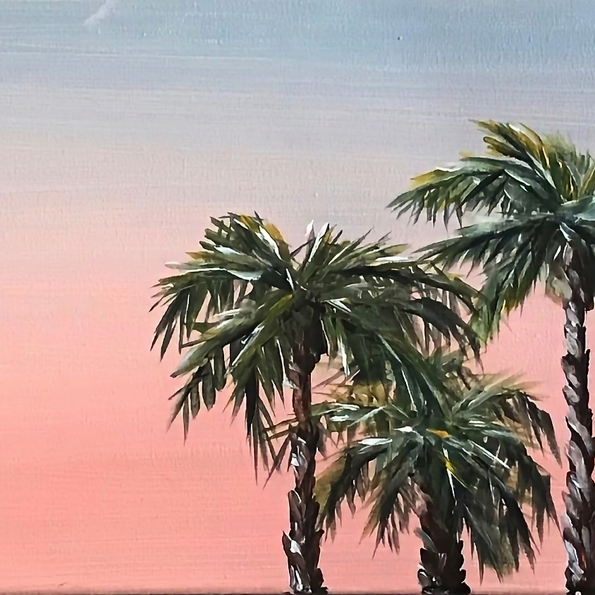 """""""Palms in the Evening"""" Painting on Long Canvas 10""""x30"""""""