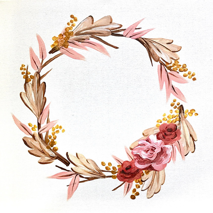 """Romantic Fall Wreath"" - Acrylic Painting"