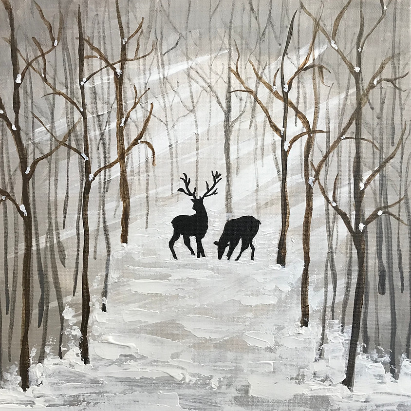 """""""Deer in the Woods"""" - Acrylic Painting"""