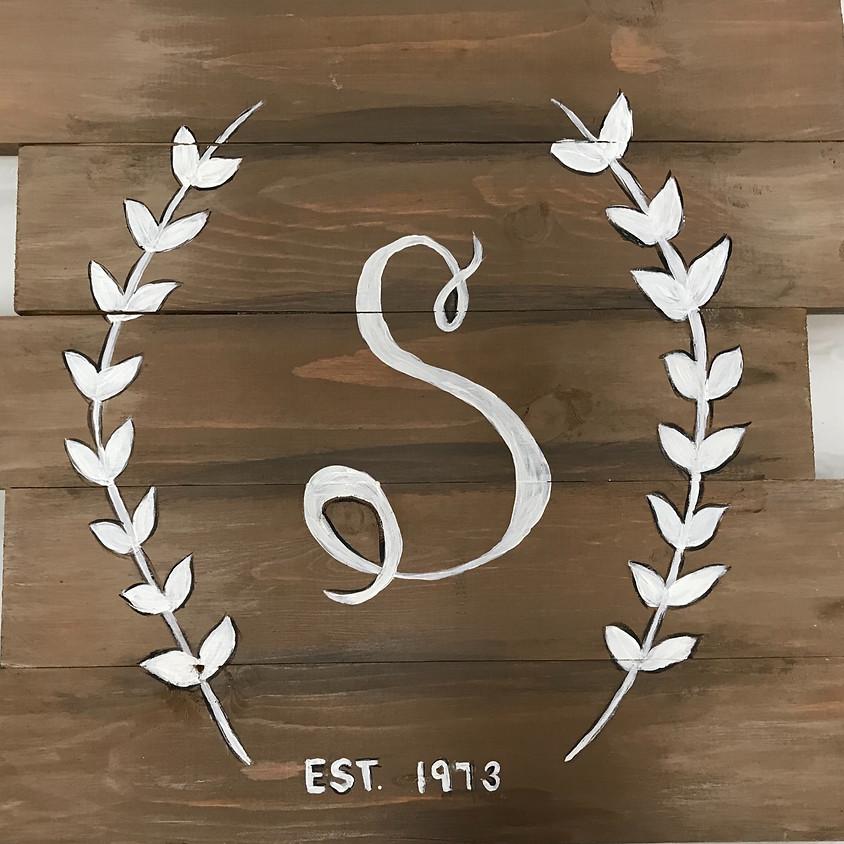 Custom Monogram Wood Pallet painting