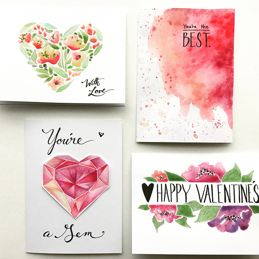 Watercolor Valentine Cards Class - CBU Missions Fundraiser