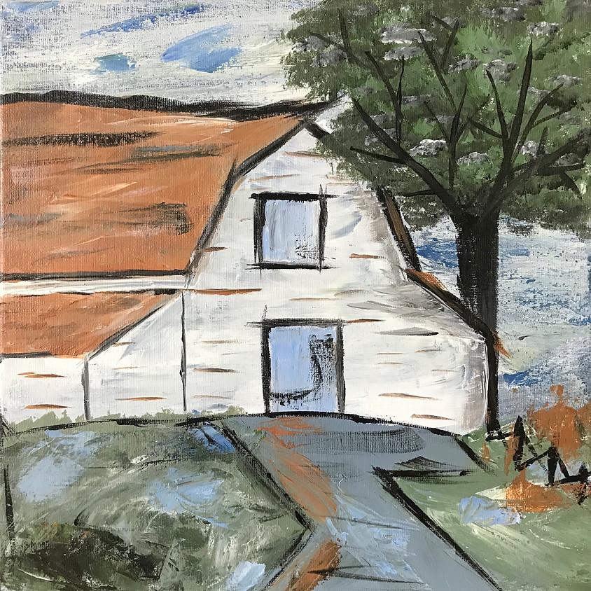 """Rustic Barn"" Acrylic Painting"
