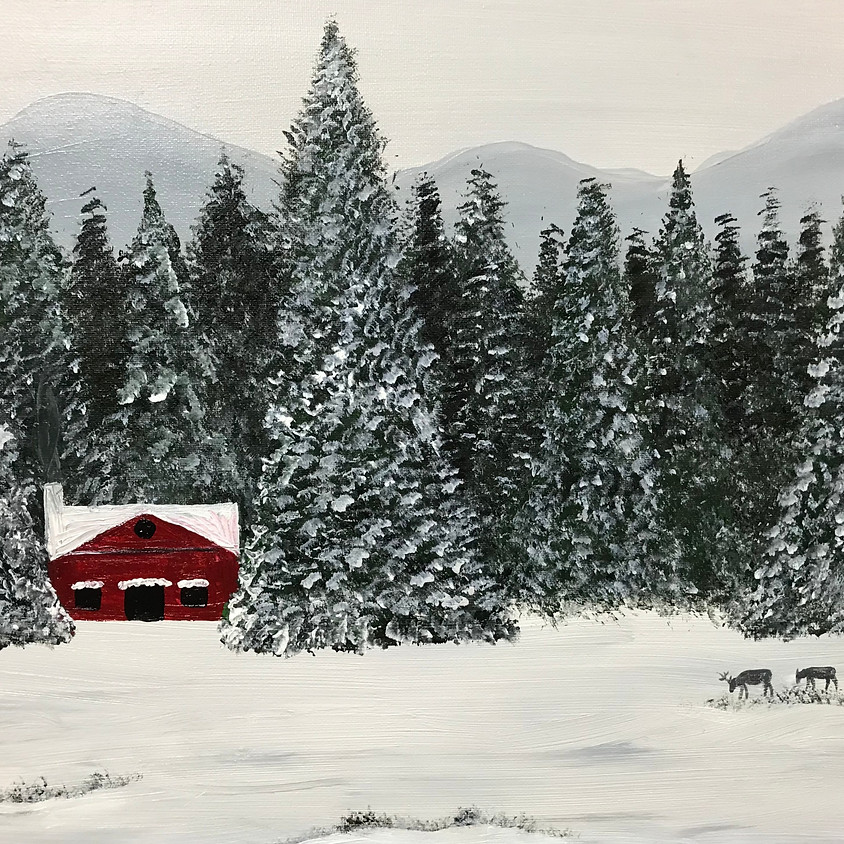 """""""Cabin Getaway"""" - Acrylic Painting on Canvas"""
