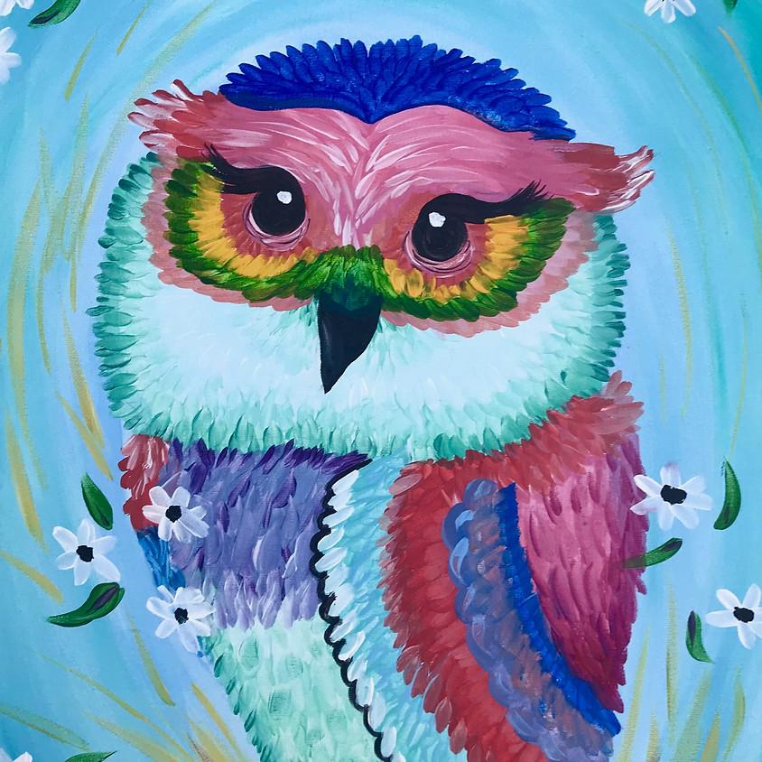 Rainbow Owl - Acrylic Painting - All Ages