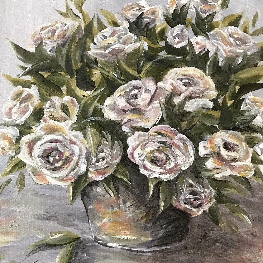 Farm House Roses - Acrylic Painting - longer class