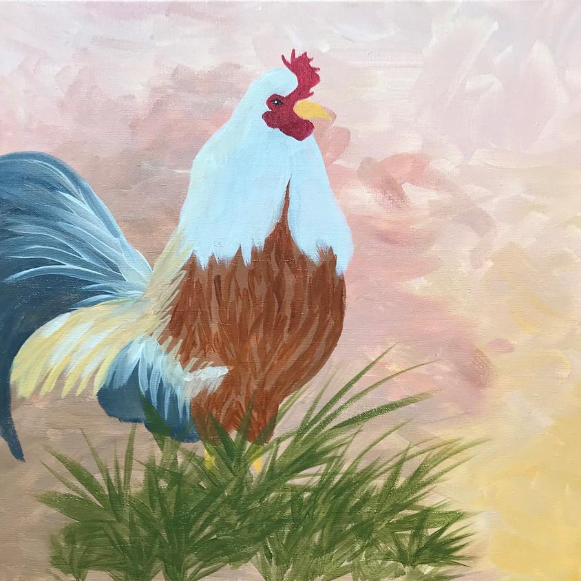 """Chicken Math"" - Acrylic Painting"