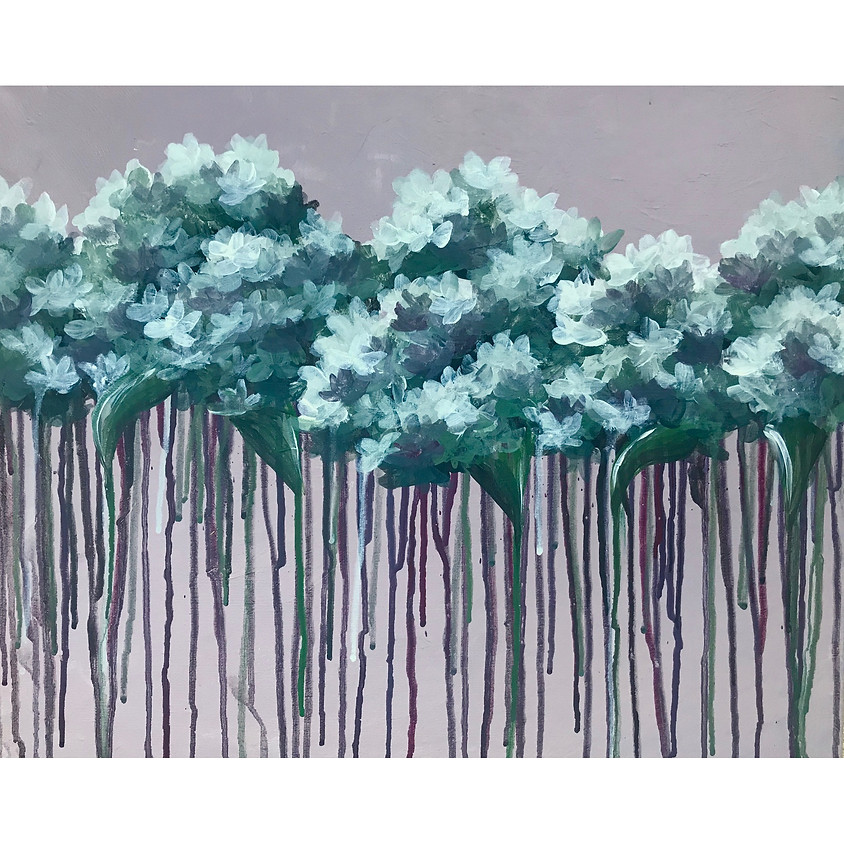 Dripping Hydrangeas - Acrylic Painting