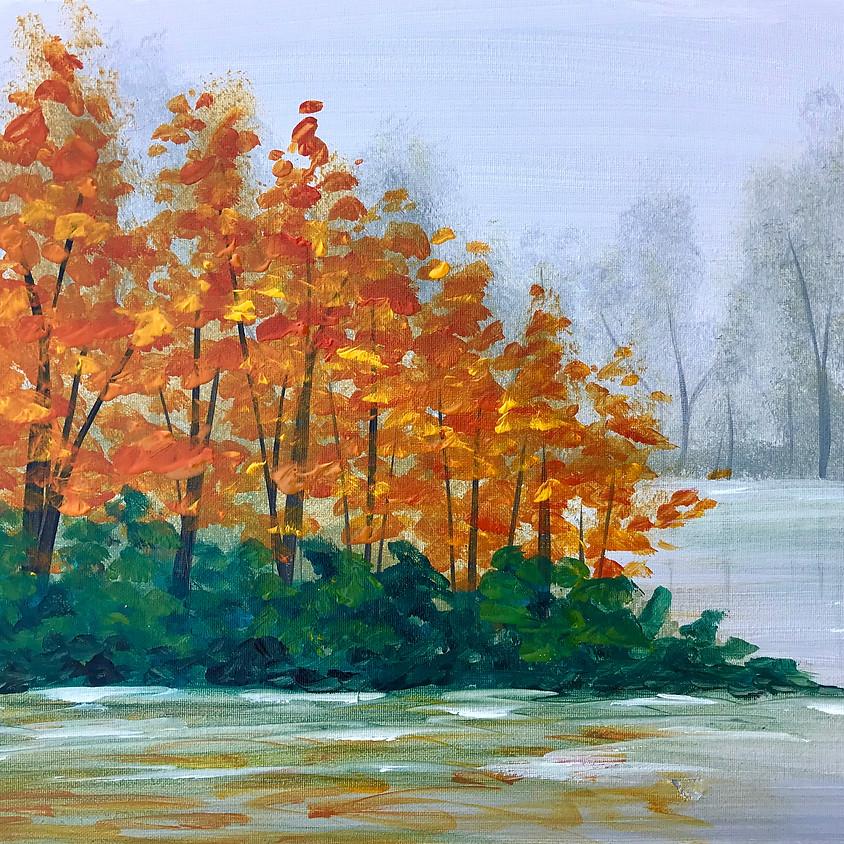 """""""Autumn Lake""""- Acrylic Painting"""