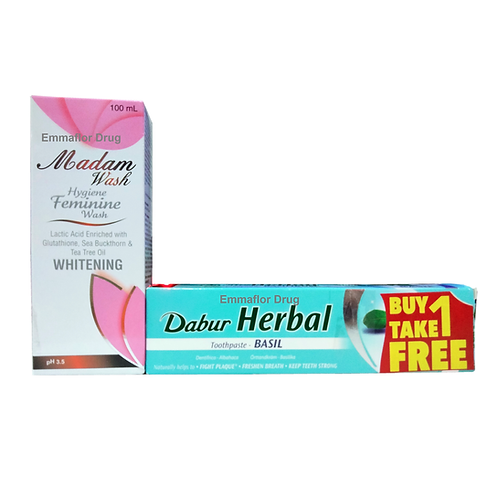 Madam Feminine Wash ph3.5 with free Dabur Herbal Basil Toothpaste