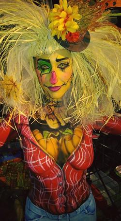 Female scarecrow body paint