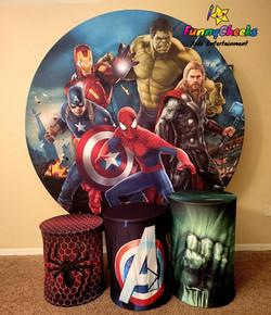 Avengers backdrop and 3 pillars