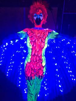 UV Glow Parrot Body Painting