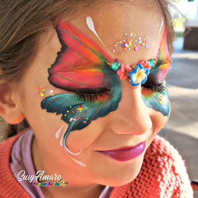 Butterfly face painting by Susy Amaro
