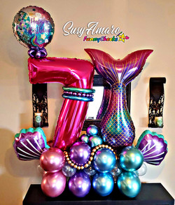 Mermaid theme 7th Birthday Balloon Arrangement
