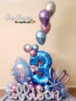 3 yr. old Frozen Theme Balloon Bouquet