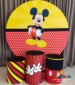 Mickey mouse round backdrop and 3 cylinder table set rental