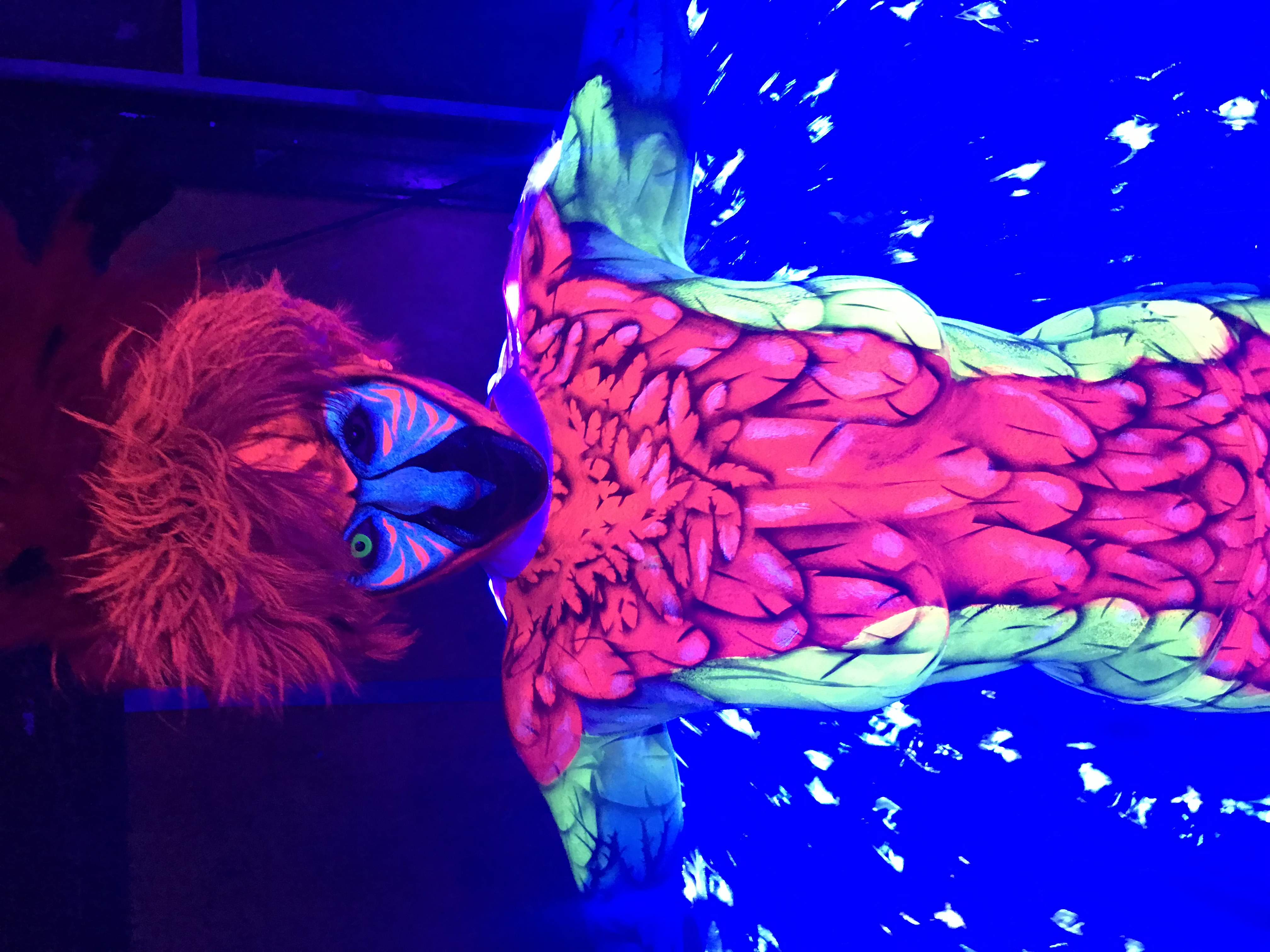 Parrot Body Painting - UV Neon Paint